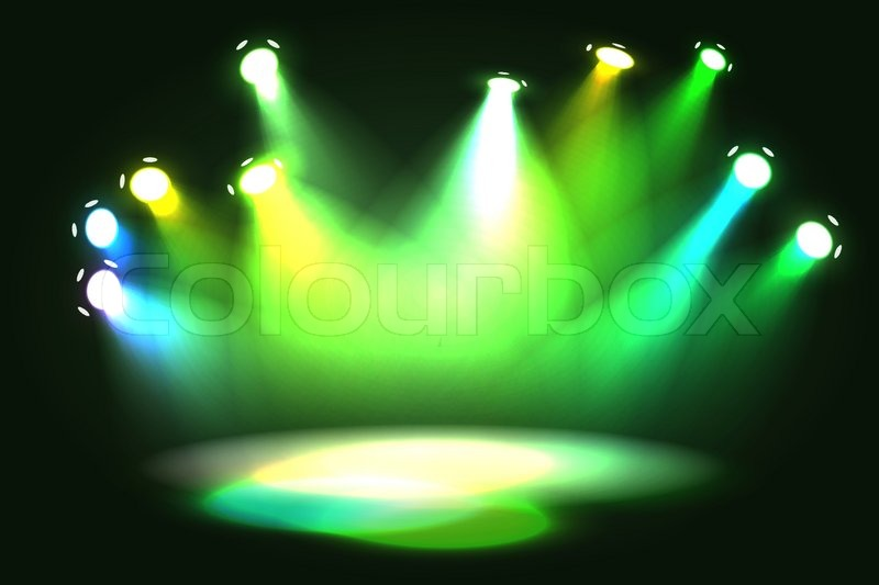 Different Shades Of Green Spotlight Projecting On Empty Stage