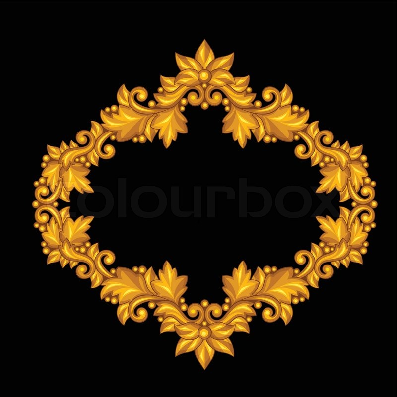 baroque ornamental antique gold frame on black background stock