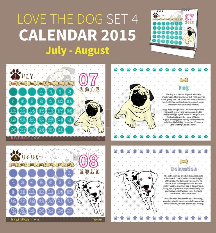 Calendar 2015 July To August On Dot And White Background Stock
