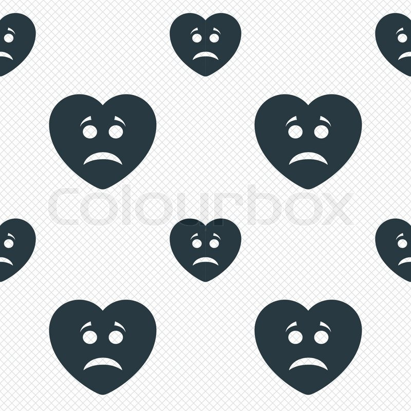 Sad Heart Face Sign Icon Sadness Depression Chat Symbol Seamless