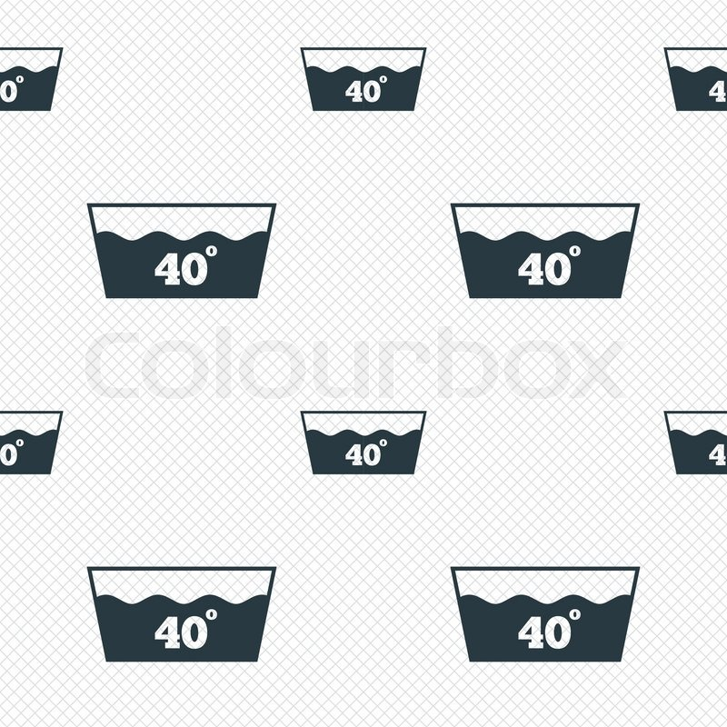 Wash Icon Machine Washable At 40 Degrees Symbol Seamless Grid