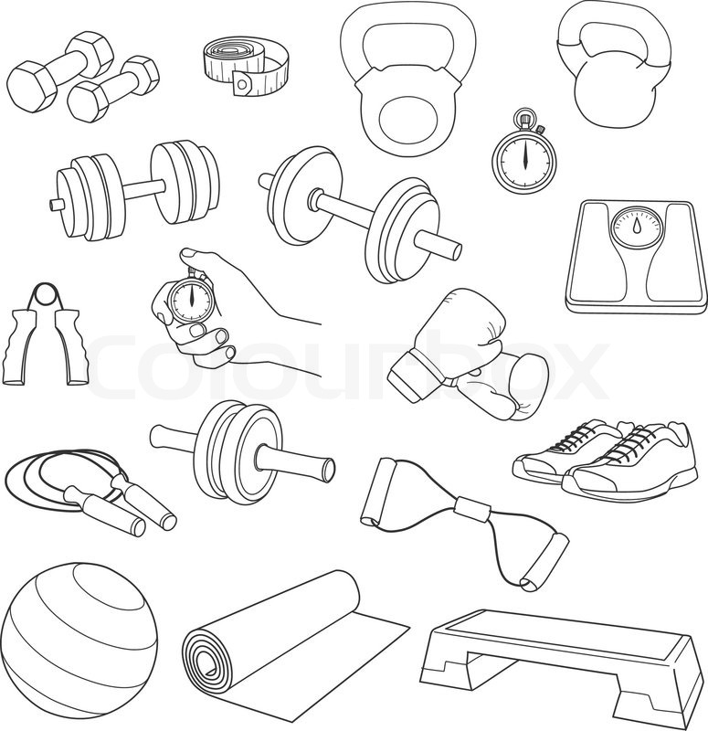 Hand Drawn Set Of Fitness Accessories Stock Vector