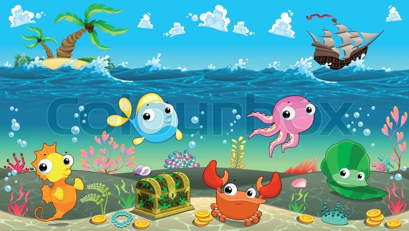 funny scene under the sea vector cartoon illustration stock rh colourbox com cartoon ocean scenery Cartoon Ocean Plants