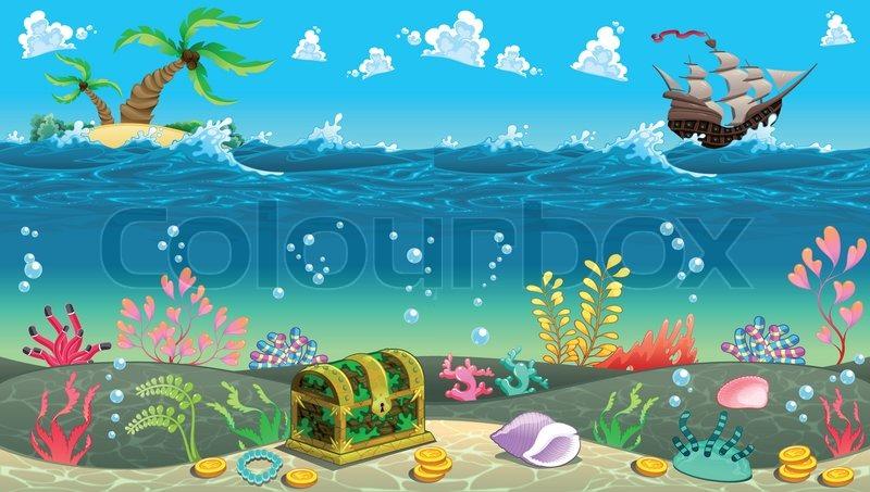 Funny scene under the sea vector cartoon illustration stock funny scene under the sea vector cartoon illustration vector voltagebd Gallery