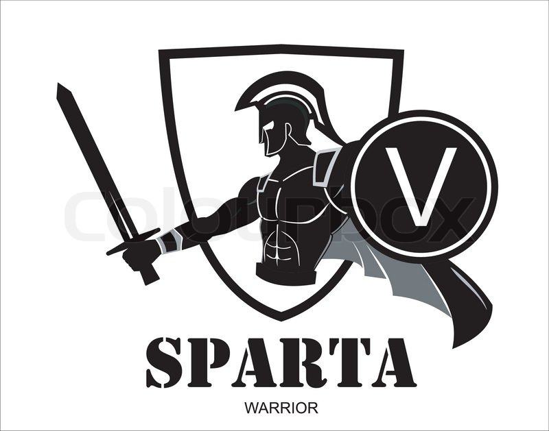 Sparta Warrior Holding Sword And Shield Illustration Of Heroic