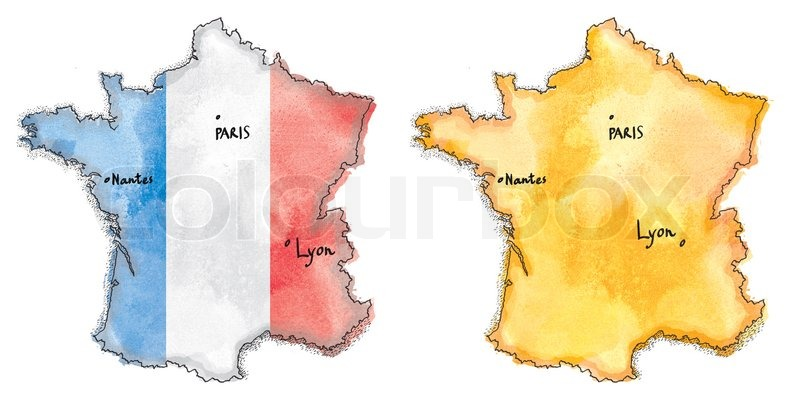 Map Of France Drawing.France Map On France Flag Drawing Stock Image Colourbox