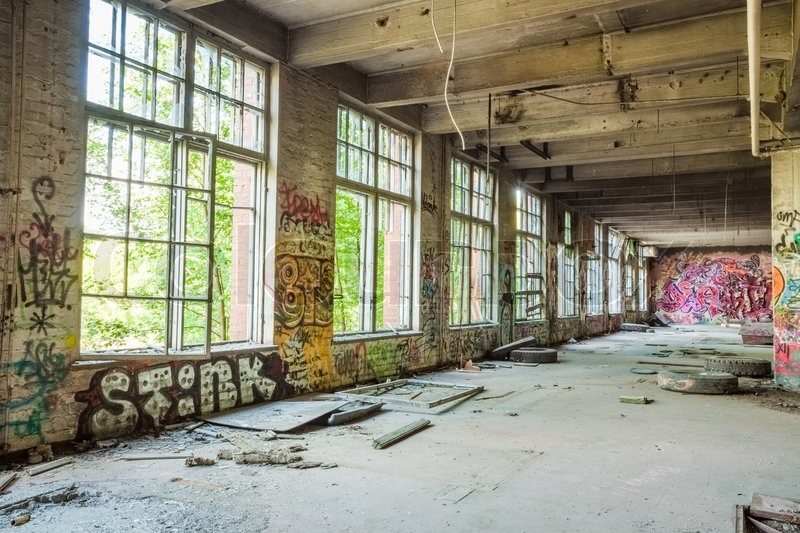 Big Windows In Old Abandoned Factory Hall Stock Photo