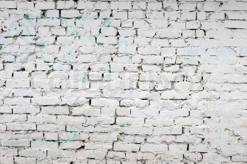 White Brick Wall Pattern Old Brick Painted With White