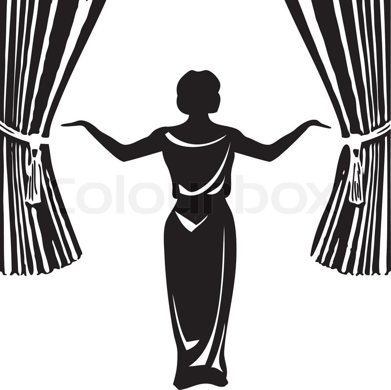 Stage Curtain Clipart Black And White