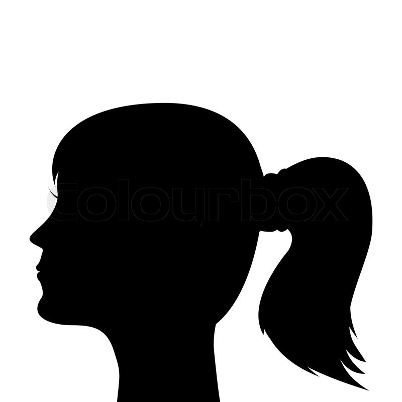 silhouette of a young girl with a ponytail stock vector colourbox