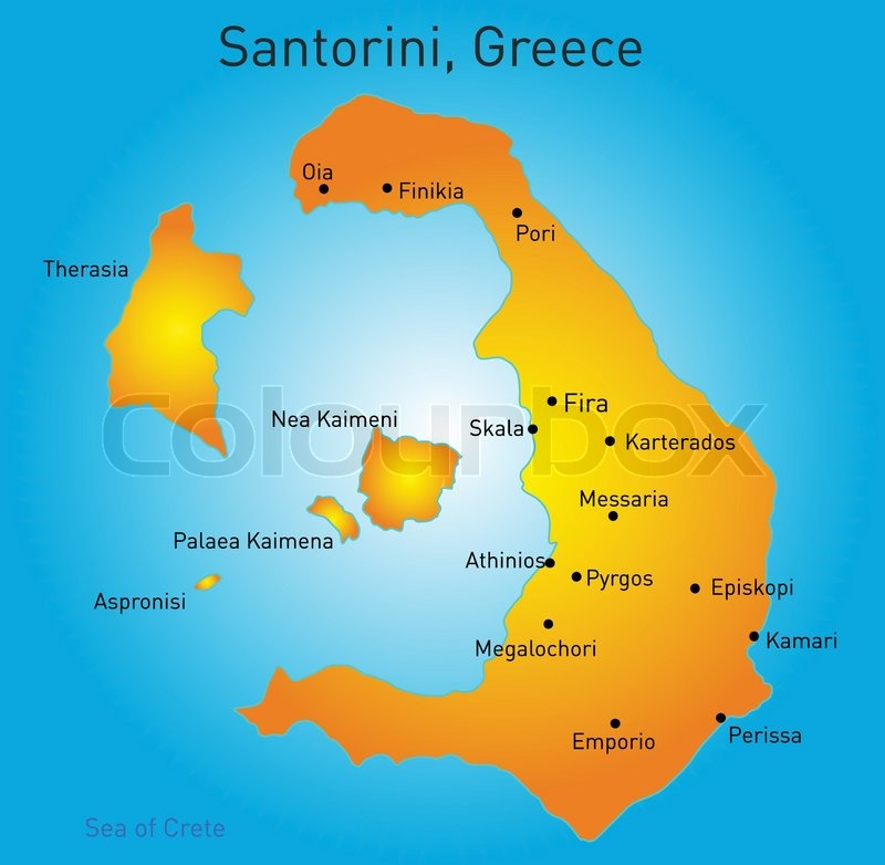 Vector color map of Santorini Greece Stock Vector Colourbox