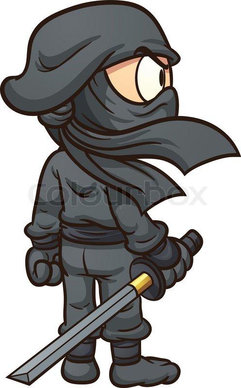 Cartoon Ninja Seen From Behind Vector Clip Art