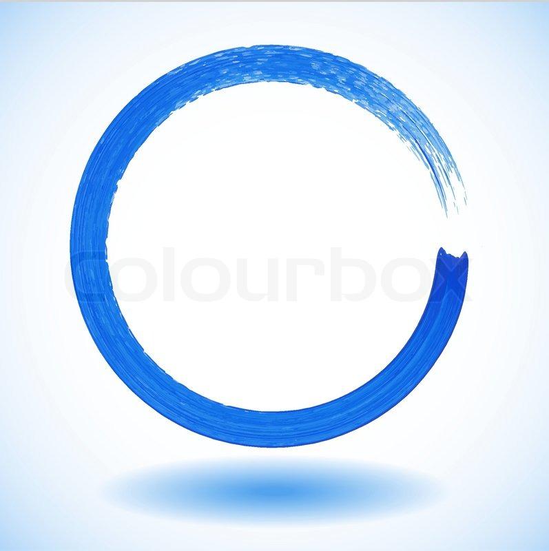 Blue paintbrush circle vector frame | Stock Vector | Colourbox