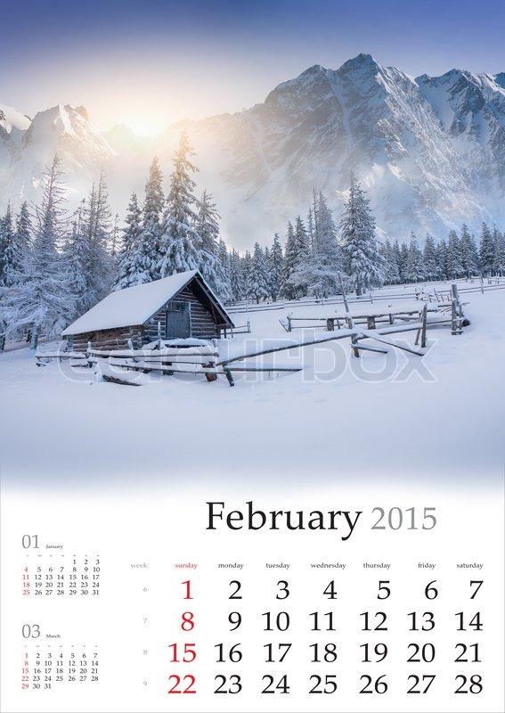 2015 Calendar. February. Beautiful ... | Stock Photo ...
