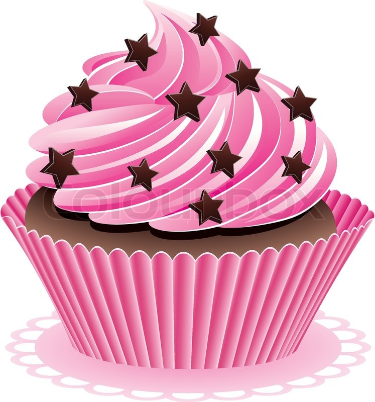 Vector Pink Cupcake With Chocolate Stock Vector