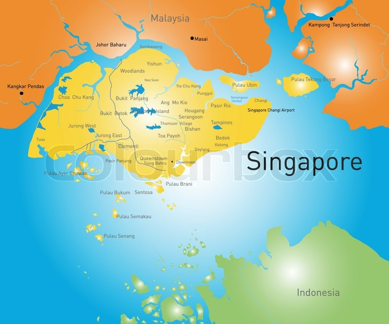 Vector Color Map Of Republic Of Singapore Stock Vector Colourbox - Singapore map vector