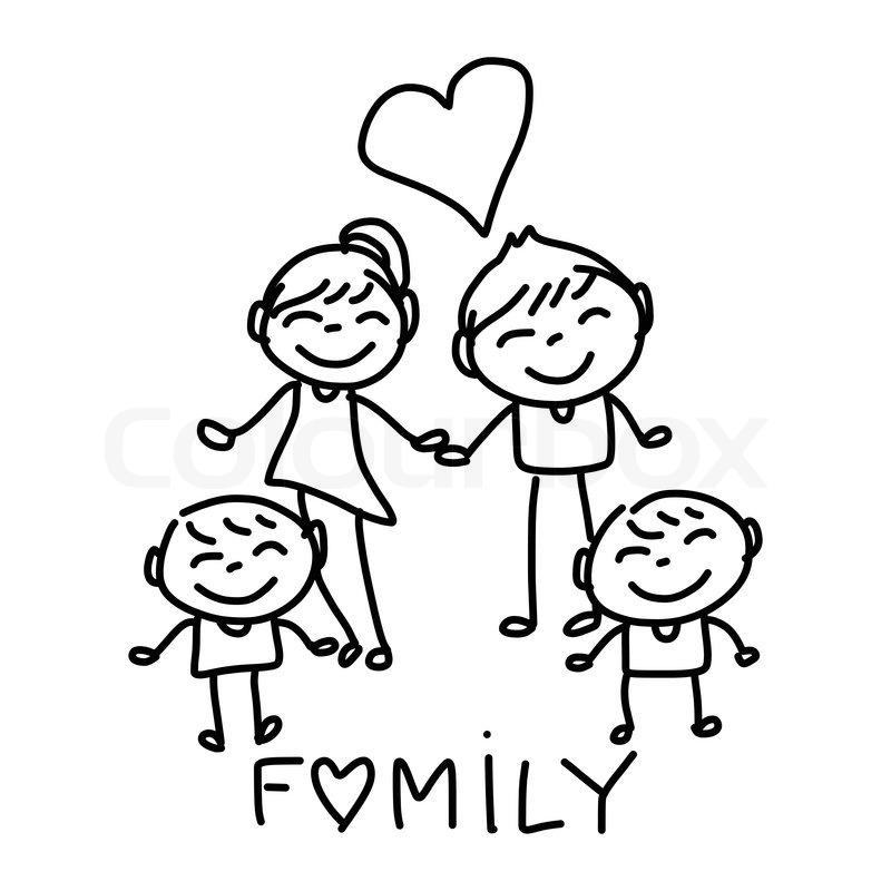 Family Picture Cartoon Sketch Carton