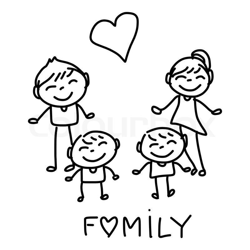 Hand Drawing Cartoon Character Happy Family