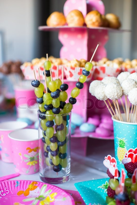 Canape Of Fruit White Chocolate Cake Pops And Popcorn On