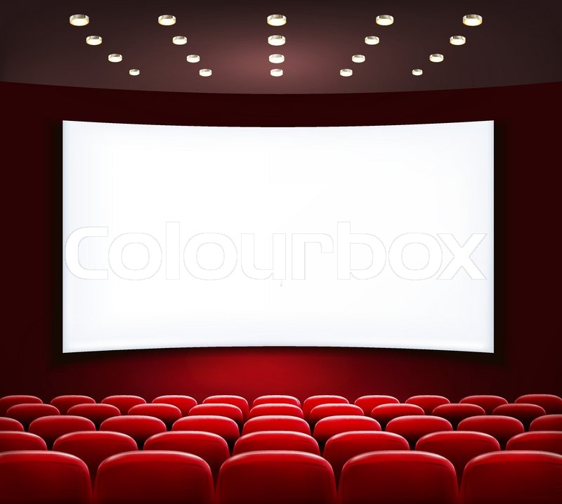 Cinema with white screen and seats. Vector. | Stock Vector ...