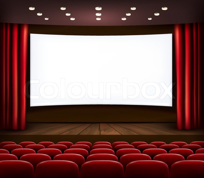 Cinema With White Screen Curtain And Seats Vector Stock Vector Colourbox
