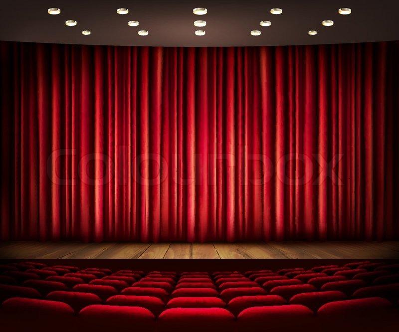 Cinema Or Theater Scene With A Curtain Vector Stock Vector Colourbox