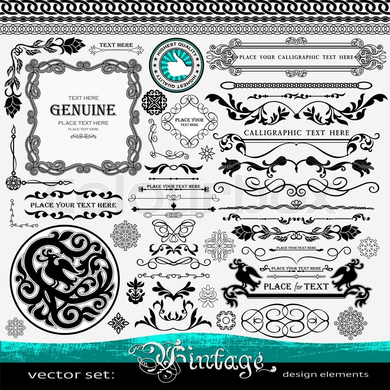 Vintage Design Elements Ornaments And Dividers Elegant Page Background Decorations Exclusive Highest Quality Retro Style Set Of Ornate Floral
