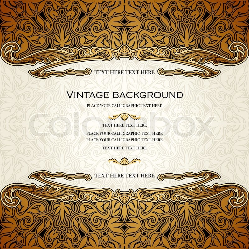 Vintage vector card design royal gold ornament luxury border stock vector of vintage vector card design royal gold ornament luxury border stopboris Image collections