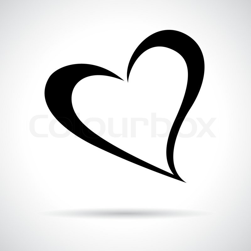 Heart Icon Black Flat Symbol In A Circle Love Concept Stock