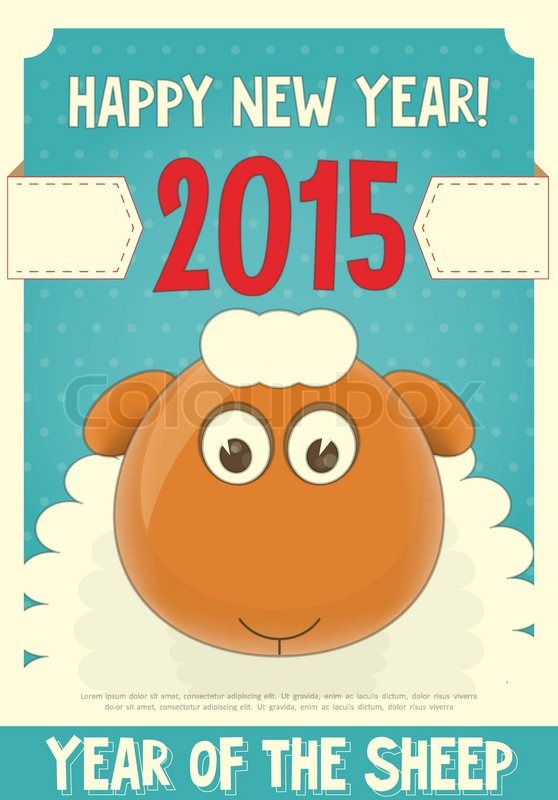 new year card with cute cartoon sheep symbol of 2015 year year of the sheep vector illustration stock vector colourbox
