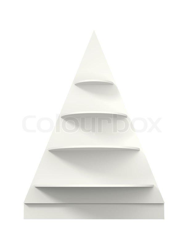 3d christmas tree shelves and shelf designisolated stock photo