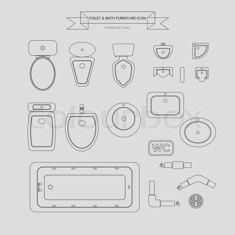 Toilet And Bath Outline Furniture Icon Top View For Interior Plan Vector
