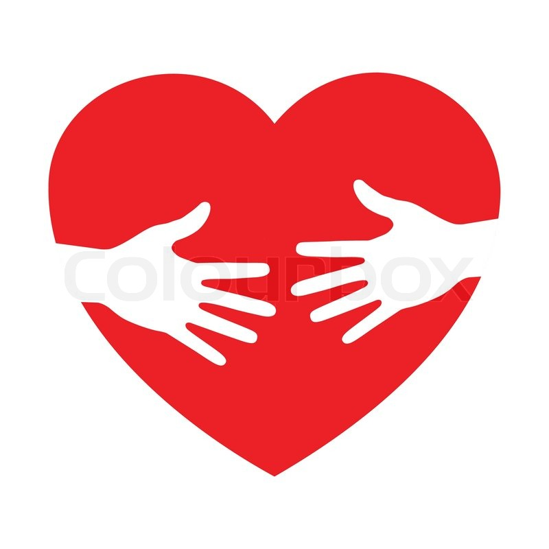 heart icon with caring hands  vector logo stock vector colourbox human heart vector icon human heart vector image