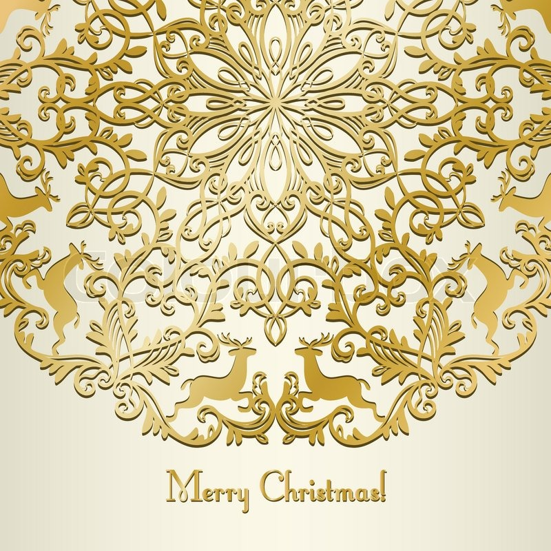 Christmas greeting vintage card with snowflake and deer gold christmas greeting vintage card with snowflake and deer gold stock vector colourbox m4hsunfo