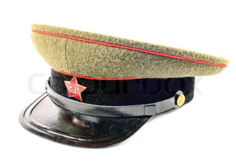 6d416e966 Soviet soldier cap on the white ... | Stock image | Colourbox