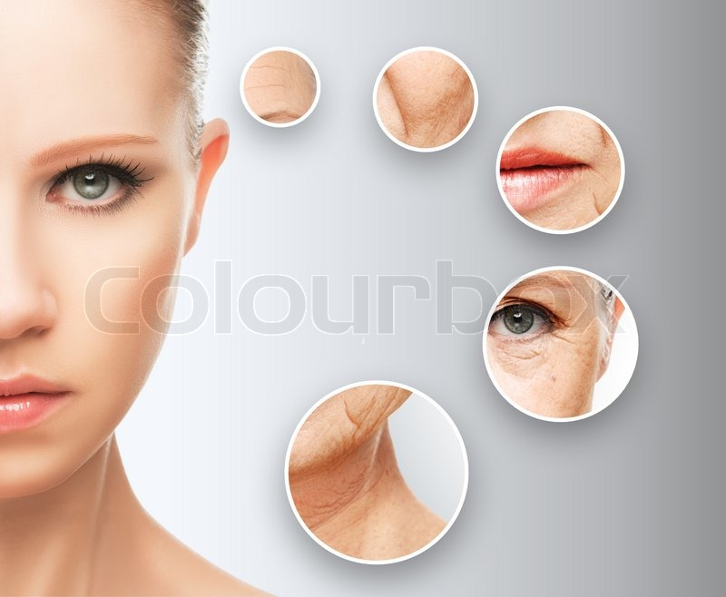 Beauty concept skin aging. anti-aging procedures, rejuvenation, lifting, tightening of facial skin, restoration of youthful skin anti-wrinkle, stock photo