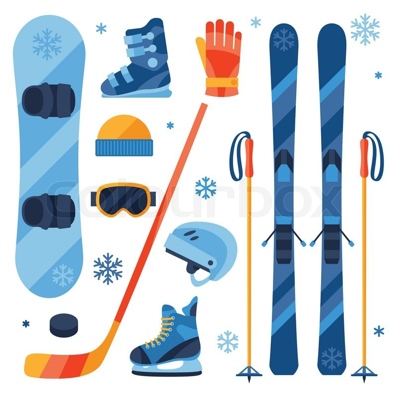 Winter Sports Equipment Icons Set In Stock Vector