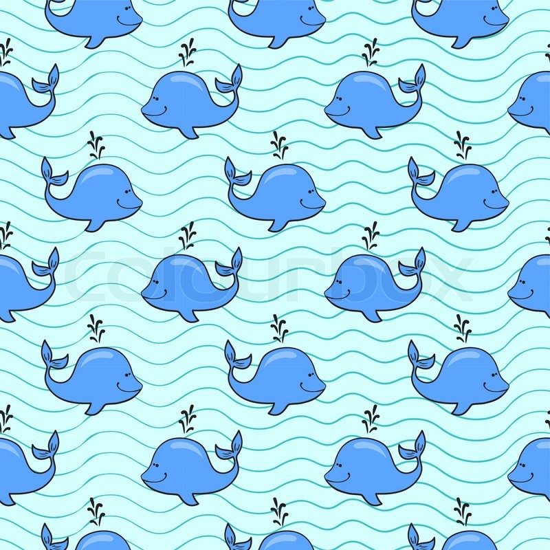 Vector Seamless Pattern With Whale On Blue Ocean Background In Classy Whale Pattern