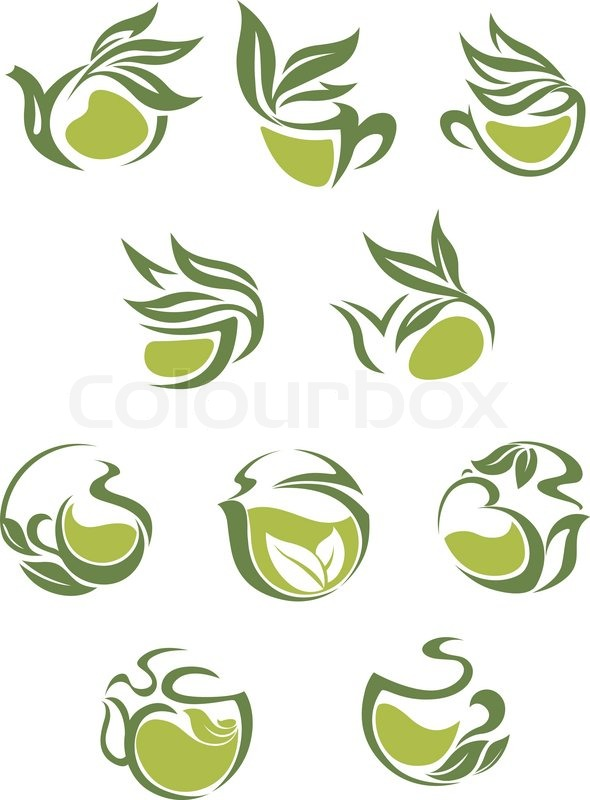 Green tea dish and cup icons set with leaves for beverages cafe green tea dish and cup icons set with leaves for beverages cafe design stock vector colourbox thecheapjerseys Image collections
