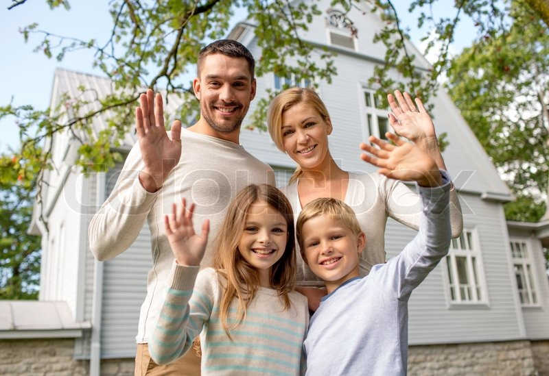 Family, generation, home, gesture and people concept ... Happy Asian Family In Front Of House