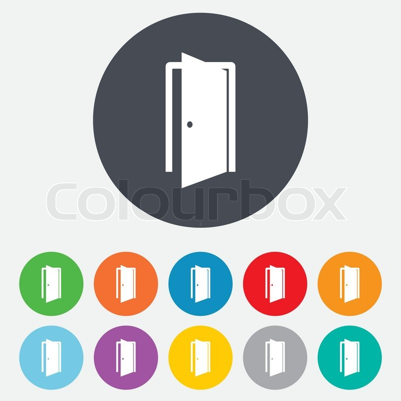 Door sign icon. Enter or exit symbol. Internal door. Round colourful 11 buttons. Vector vector  sc 1 st  Colourbox & Door sign icon. Enter or exit symbol. Internal door. Round ... pezcame.com