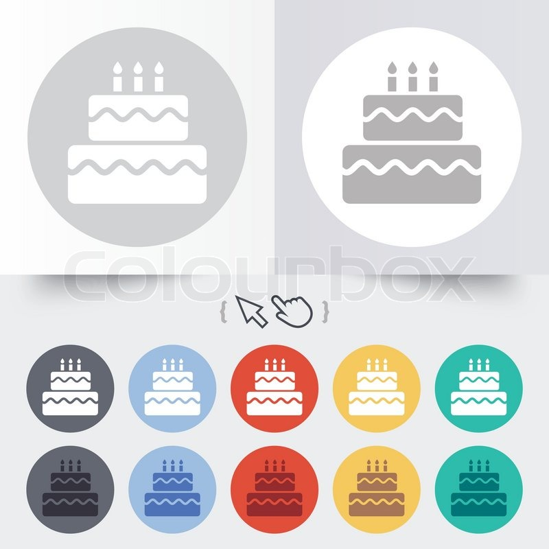 Birthday cake sign icon Cake with burning candles symbol Round 12