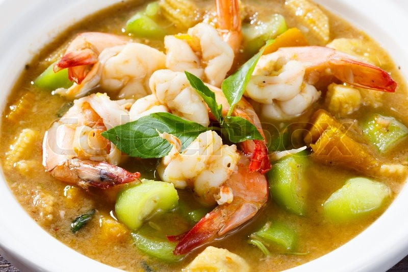 ... image of 'Close up Thai hot and spicy mixed vegetable soup with prawn
