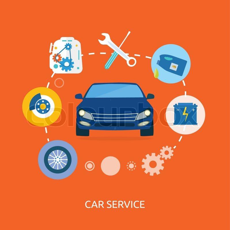 Auto mechanic service flat icons of maintenance car repair for Motor vehicle repair license