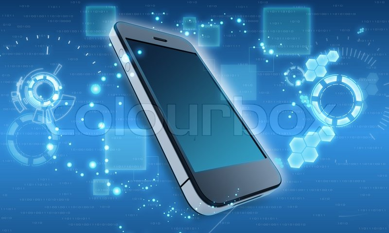 Mobile Phone In The Abstract Cosmic Background Stock