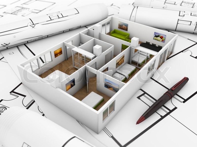 Interior Design Concept Mock Up Flat Over Technical Draws Stock Photo Colourbox