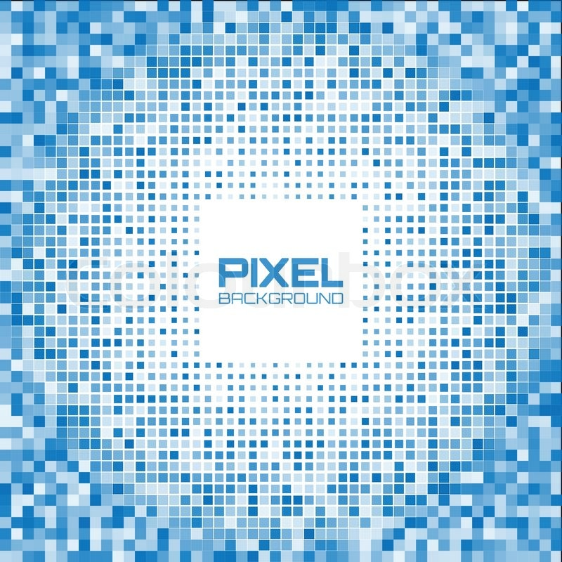 abstract blue pixel background, vector illustration | stock vector