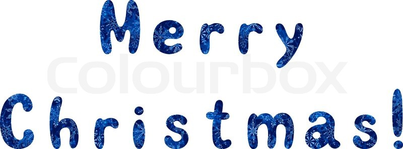 lettering holiday festive greeting merry christmas words with a blue background with snowflakes eps10 contains transparencies