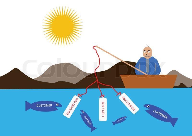 Vector illustration of a businessman fishing customer for Fish customer service
