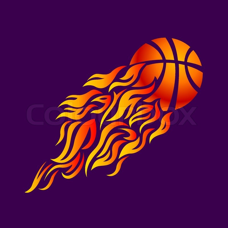 vector flame fire ball orange basketball symbol